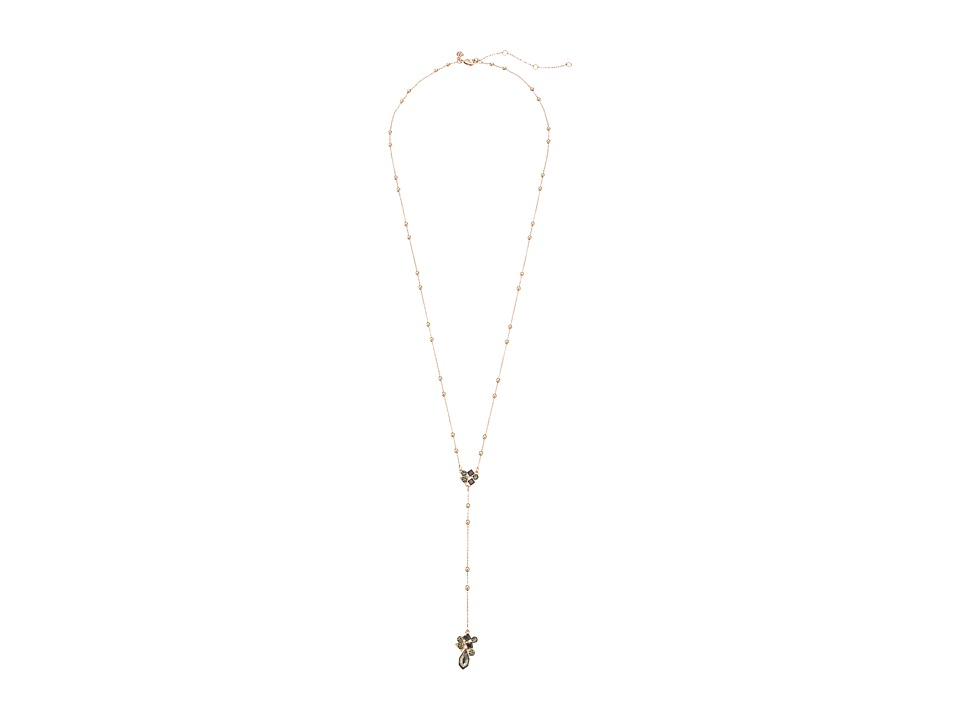 Rebecca Minkoff - Stone Mix Beaded Y Necklace (Rose Gold/Black Diamond) Necklace