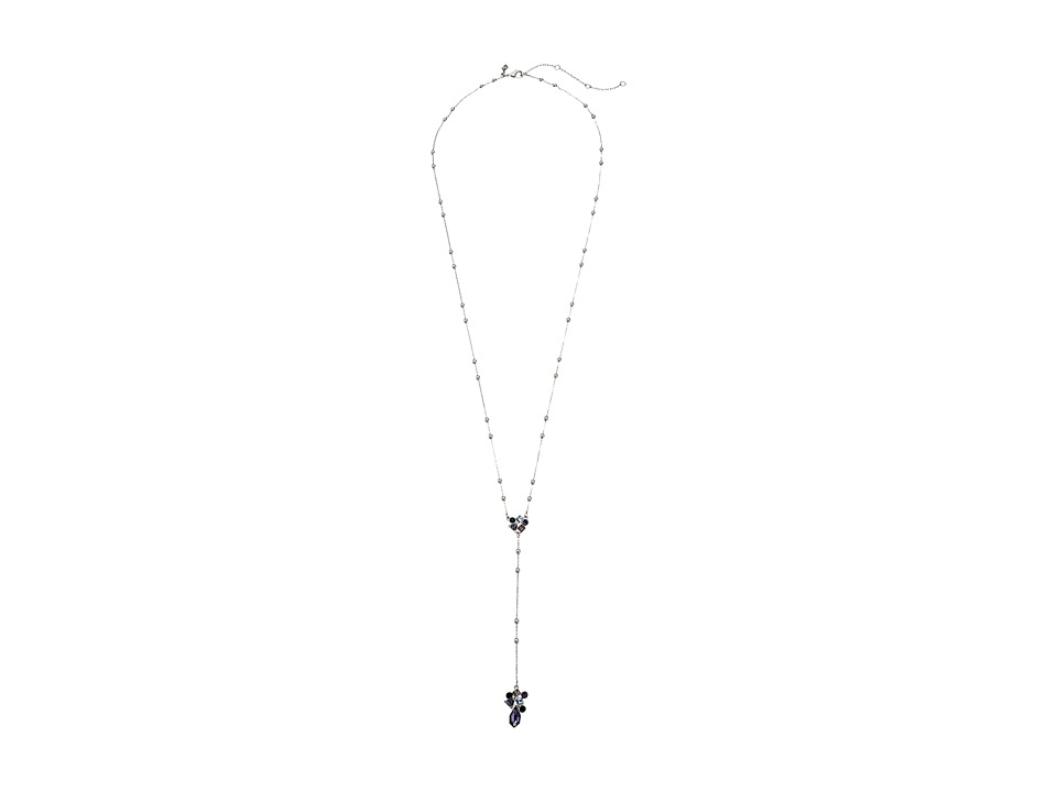 Rebecca Minkoff - Stone Mix Beaded Y Necklace (Silver/Blue Multi) Necklace