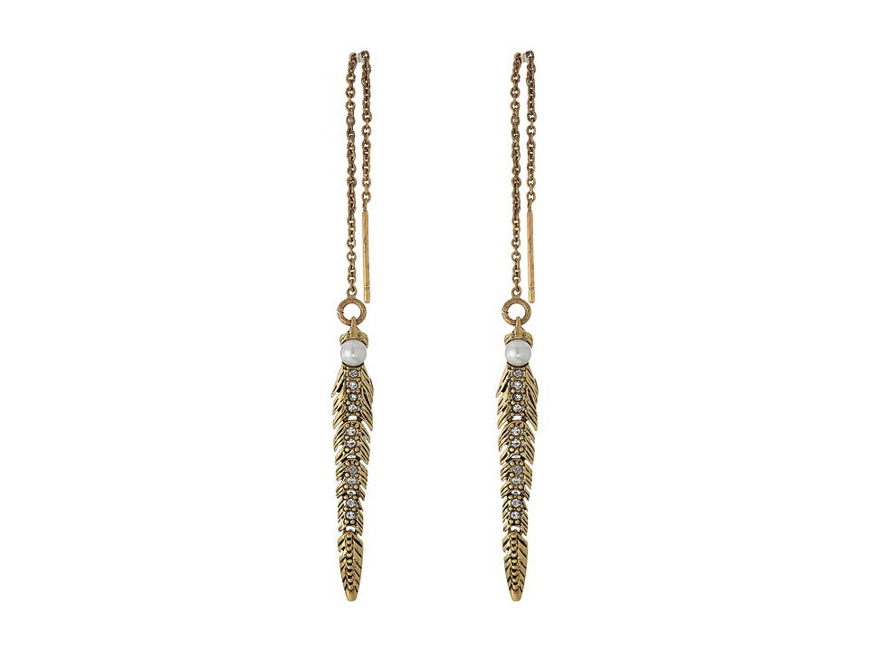 Rebecca Minkoff - Feather Threader Earrings (Antique Gold/Pearl) Earring