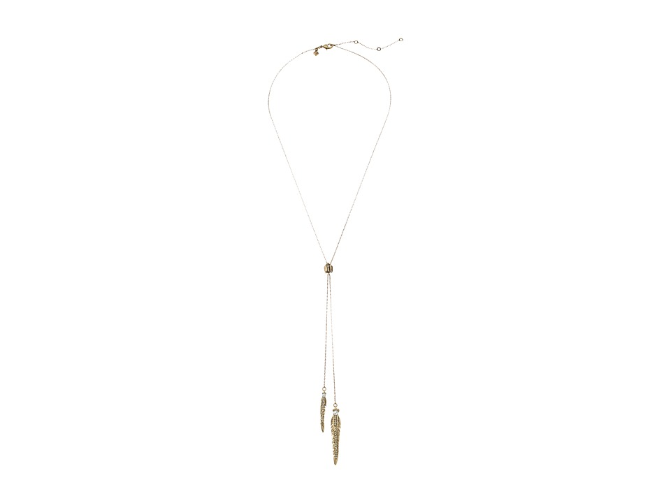 Rebecca Minkoff - Feather Lariat Nekclace (Antique Gold/Pearl) Necklace