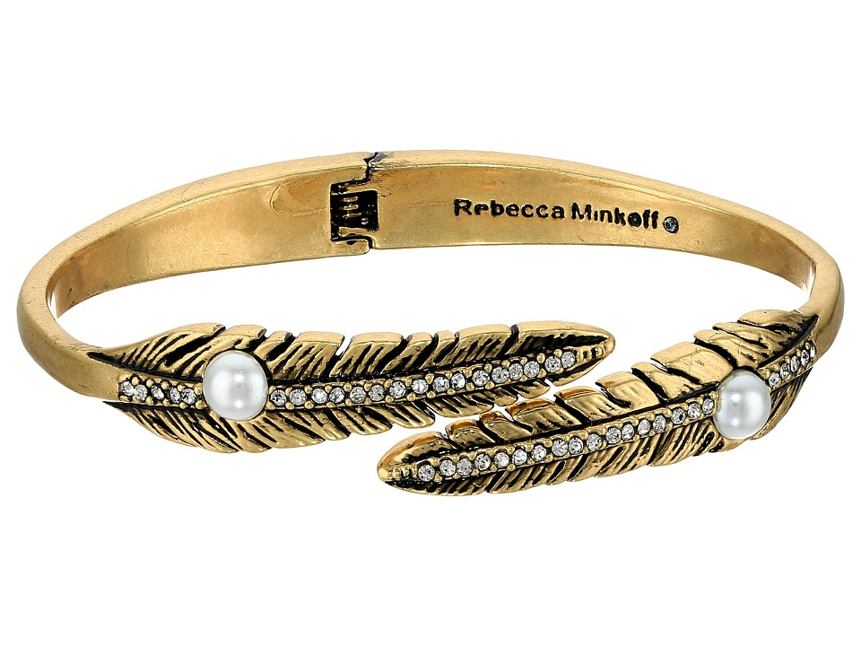 Rebecca Minkoff - Feather Oval Hinge Bracelet (Antique Gold/Pearl) Bracelet