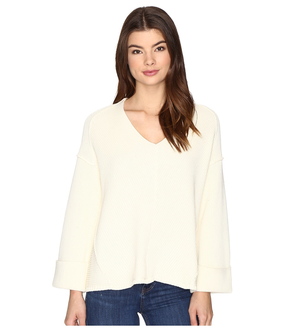 Free People - La Brea V-Neck Sweater (Ivory) Women's Sweater