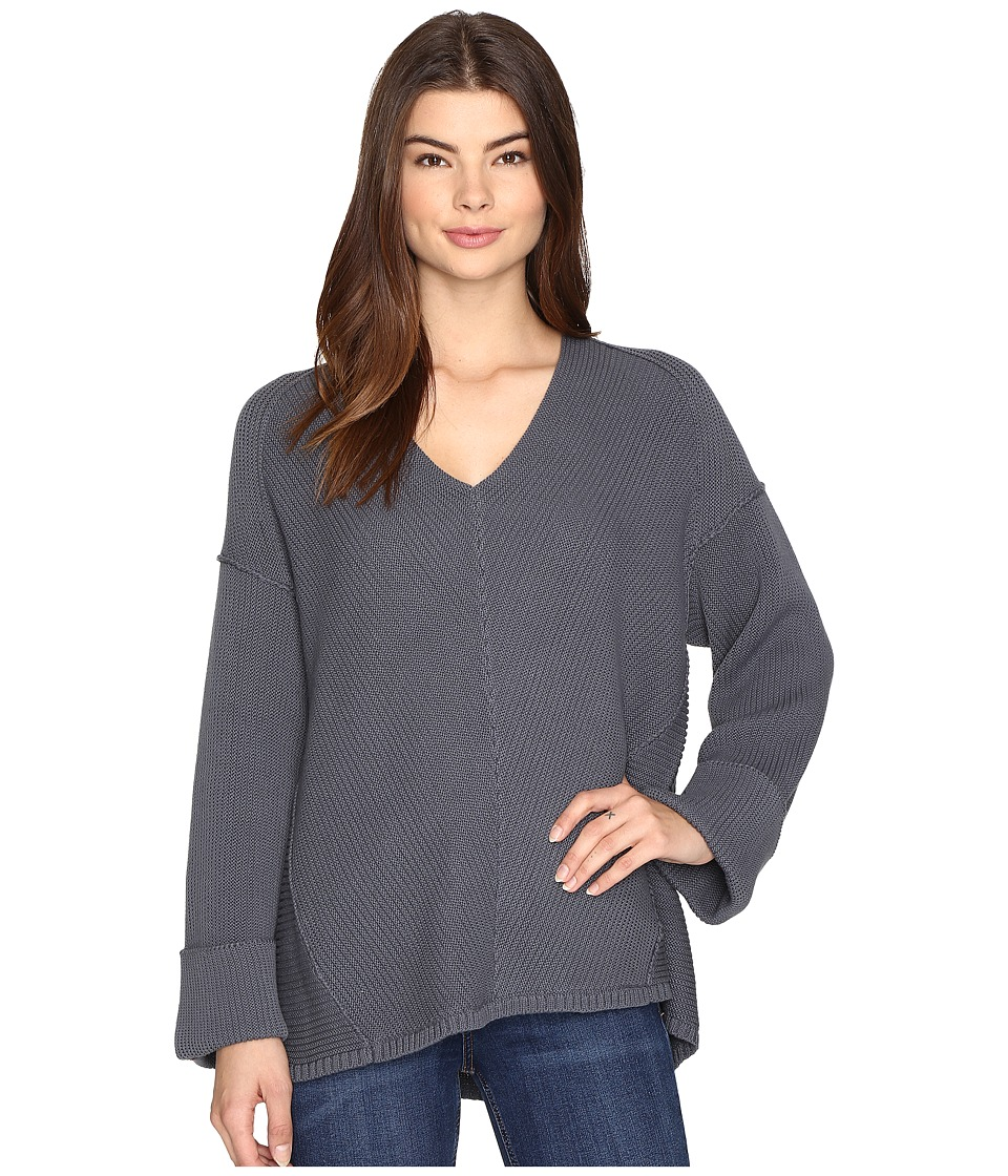 Free People - La Brea V-Neck Sweater (Slate) Women's Sweater