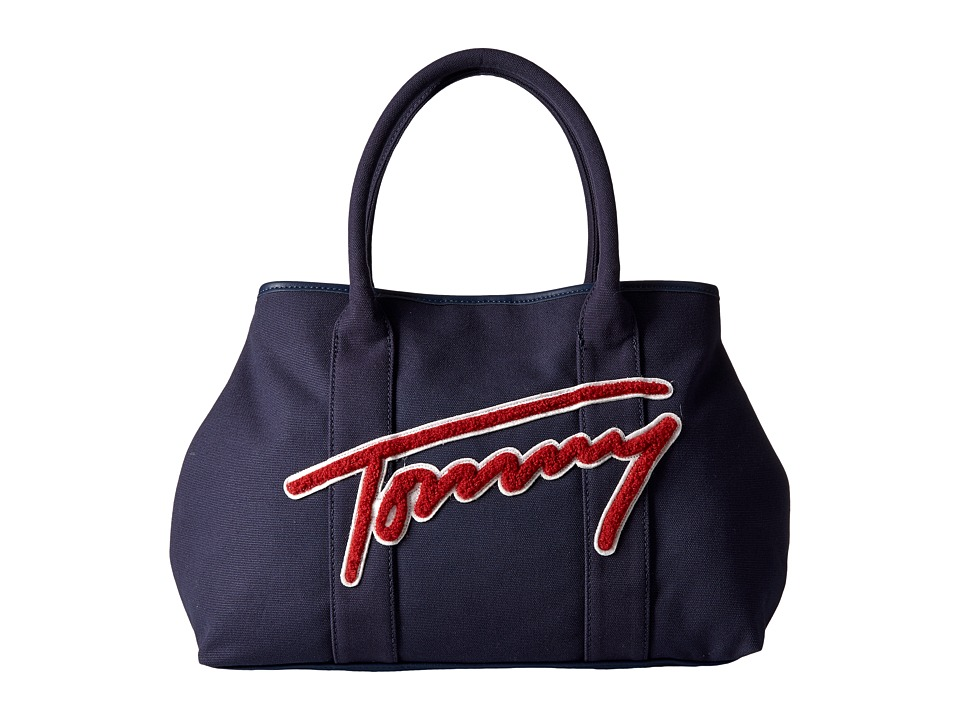 Tommy Hilfiger - Aurora Tote Canvas w/ Terry Cloth (Navy/Red) Tote Handbags