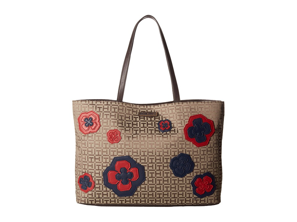 Tommy Hilfiger - Novelty Floral Tote (Tan/Dark Chocolate) Tote Handbags