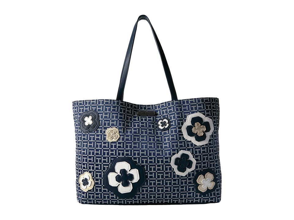 Tommy Hilfiger - Novelty Floral Tote (Navy/White) Tote Handbags