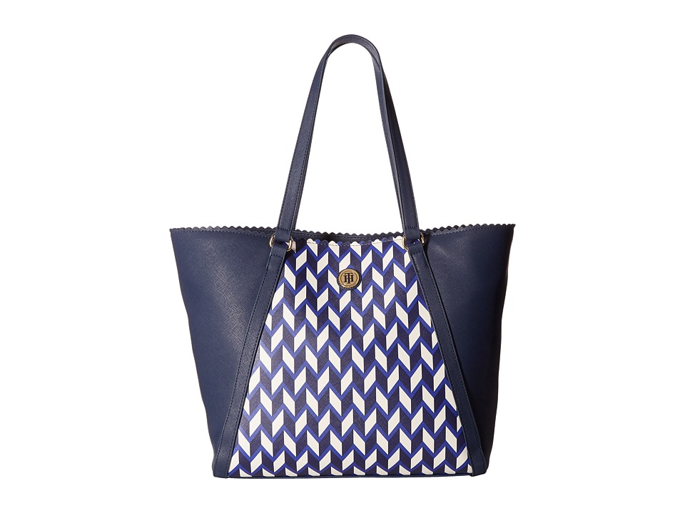 Tommy Hilfiger - Adaline II Tote Chevron (Cobalt/Multi) Tote Handbags
