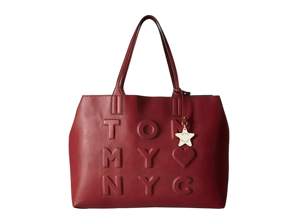 Tommy Hilfiger - Logo Story Tote Debossed (Cabernet) Tote Handbags