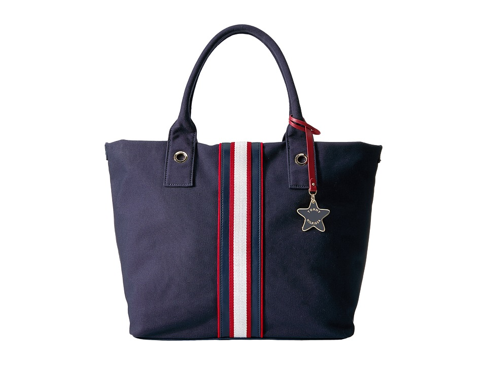 Tommy Hilfiger - Canvas w/ Web Stripe Tote Canvas (Navy/Red) Tote Handbags