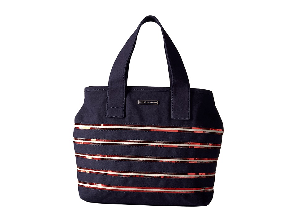 Tommy Hilfiger - Canvas Flag Tote Canvas w/ Sequi North/South (Navy/Red) Tote Handbags