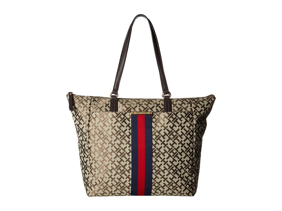 Tommy Hilfiger - Eve II Tote (Tan/Dark Chocolate) Tote Handbags
