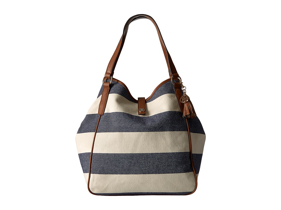 Tommy Hilfiger - Hazel Tote Woven Rugby Canvas (Navy/Natural) Tote Handbags