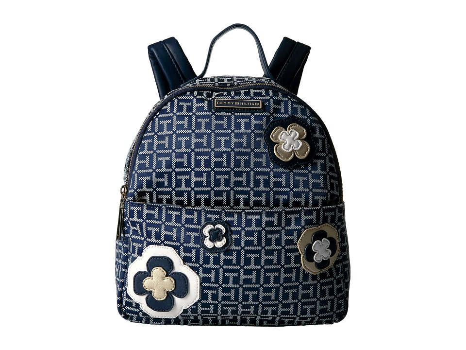 Tommy Hilfiger - Novelty Floral Dome Backpack (Navy/White) Backpack Bags