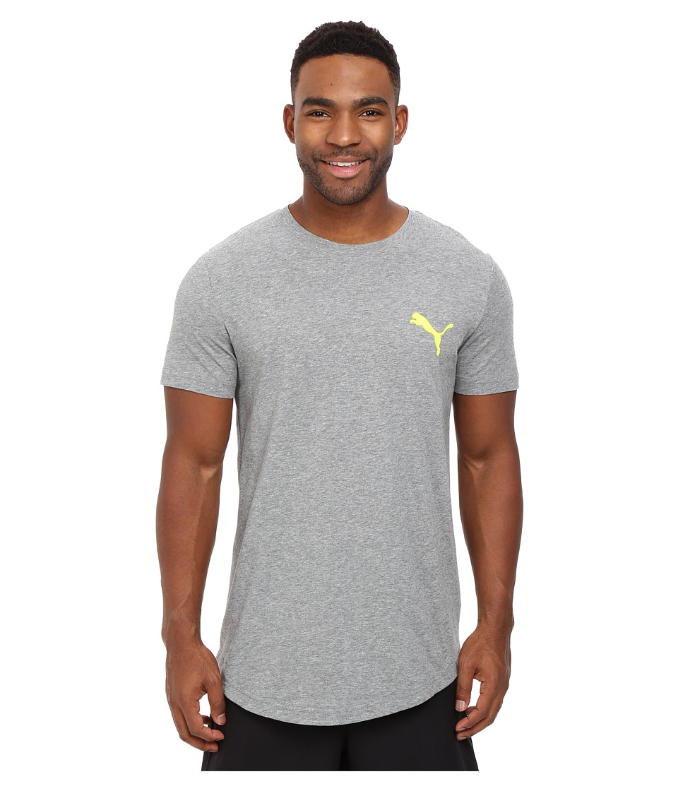 PUMA Fluo Progressive Basic Tee (Medium Gray Heather) Men