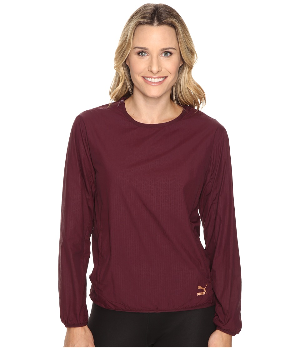 PUMA - Evo Embossed Crew Sweat (Winetasting) Women's Clothing