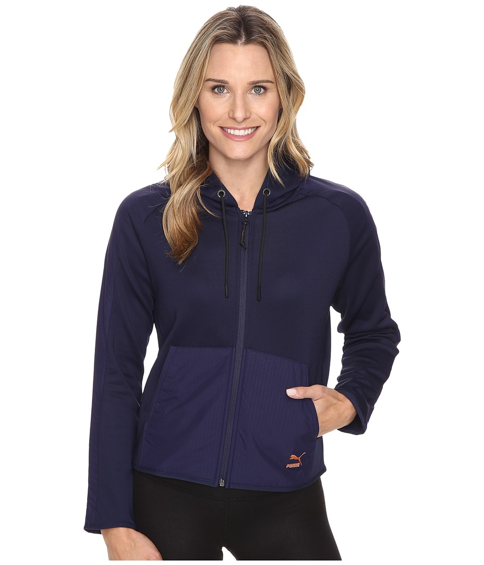 PUMA - Evo T7 Full Zip Hoodie (Peacoat) Women's Sweatshirt