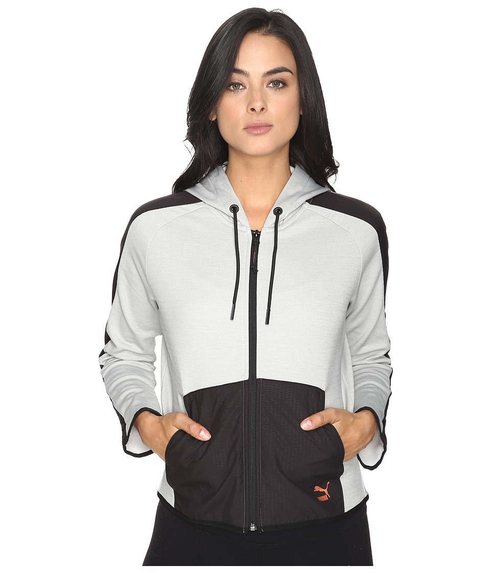 PUMA Evo T7 Full Zip Hoodie (Light Gray Heather) Women