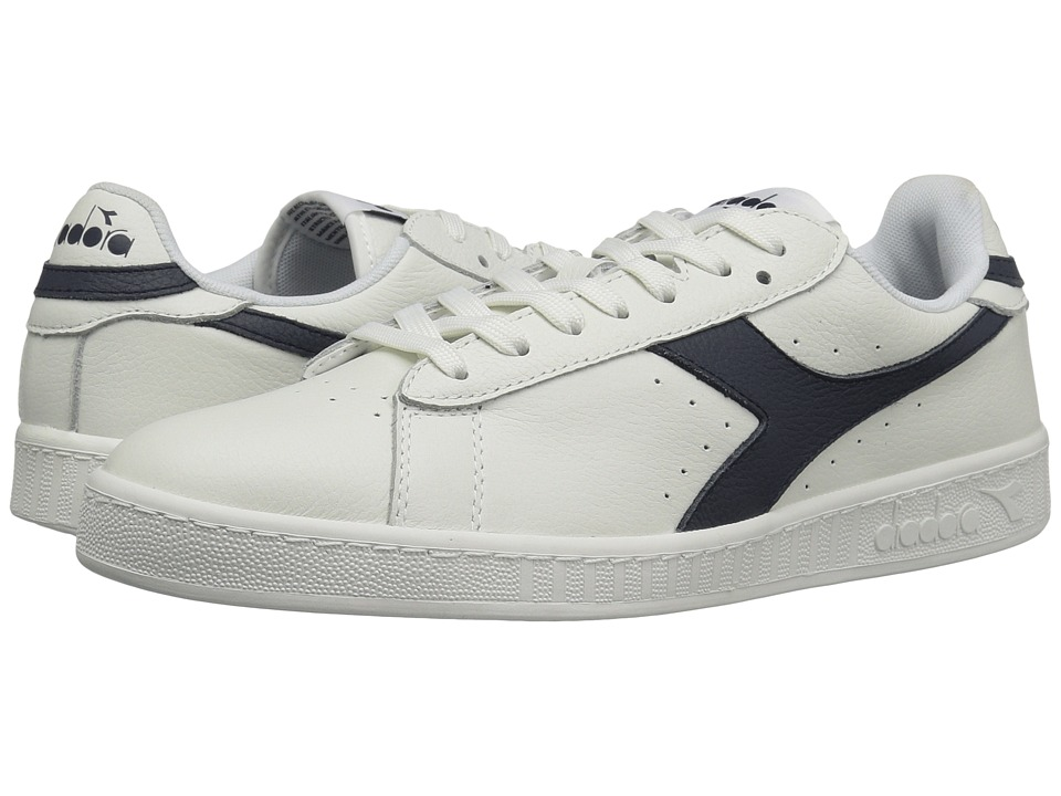 Diadora - Game L Low Waxed (White/Blue Caspain Sea) Athletic Shoes