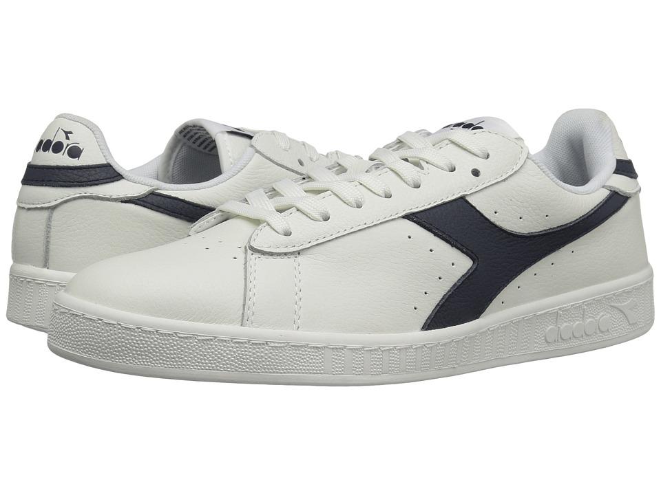 Diadora - Game L Low Waxed (White/Blue Caspain Sea) Athletic Shoes