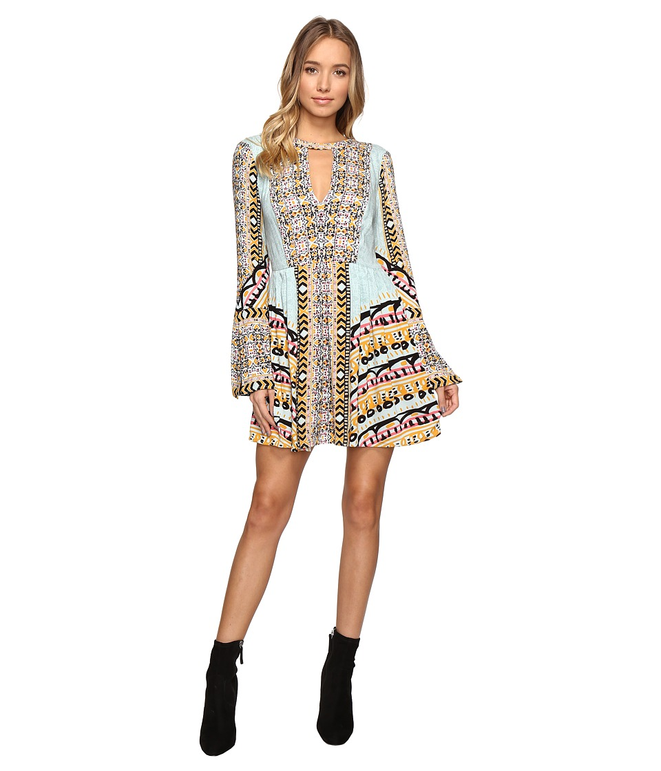 Free People - Teagan Printed Mini Dress (Blue Combo) Women's Dress