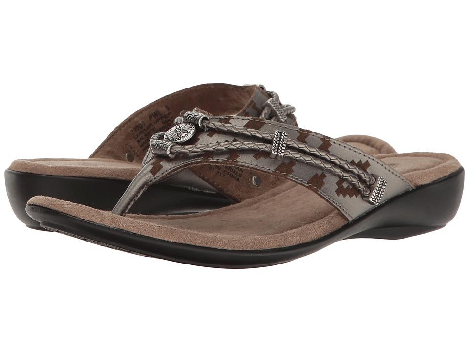 Minnetonka - Silverthorne Thong (Pewter Laser Print Leather) Women's Sandals