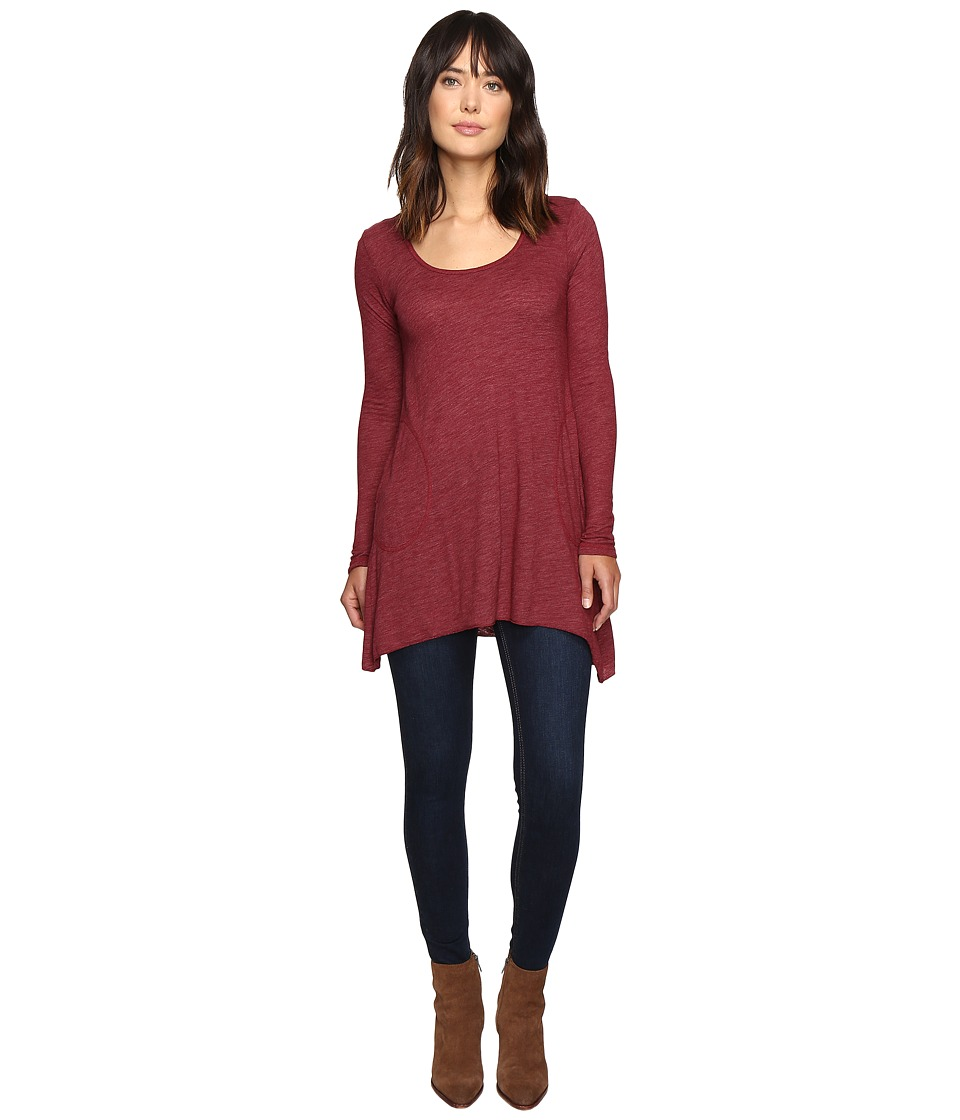 Allen Allen - L/S Angled 2-Pocket Scoop Tunic (Rumba) Women's Long Sleeve Pullover