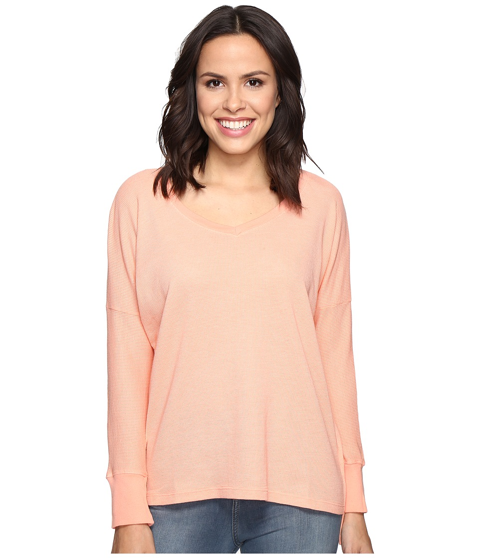 Allen Allen - Long Sleeve Drop Shoulder High-Low V-Neck (Nectar) Women's Long Sleeve Pullover
