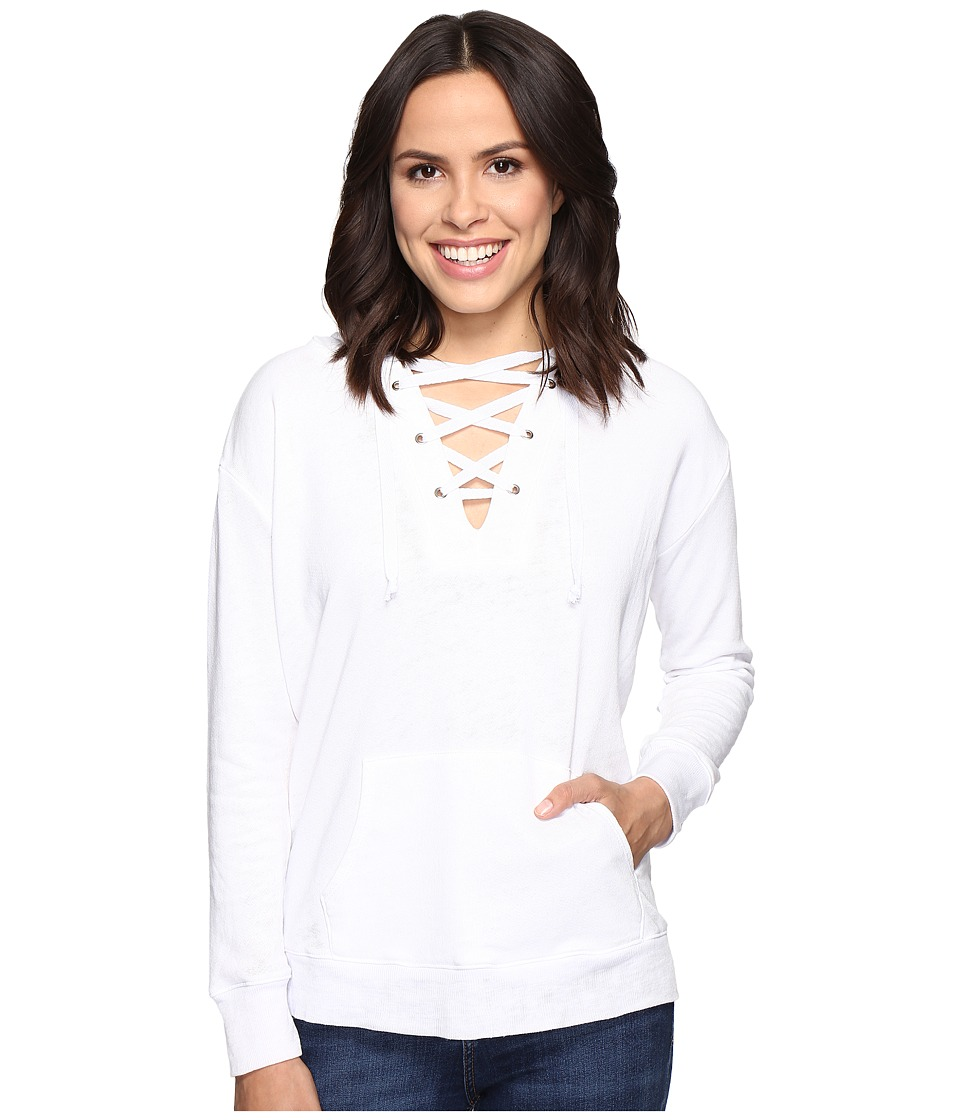 Allen Allen - Long Sleeve Lace Front Pullover Hoodie (White) Women's Sweatshirt