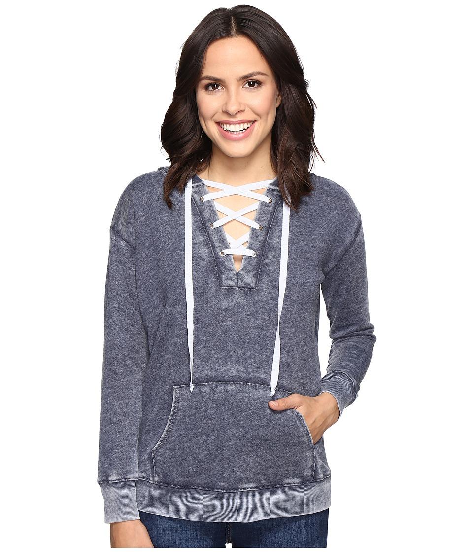 Allen Allen - Long Sleeve Lace Front Pullover Hoodie (Navy) Women's Sweatshirt
