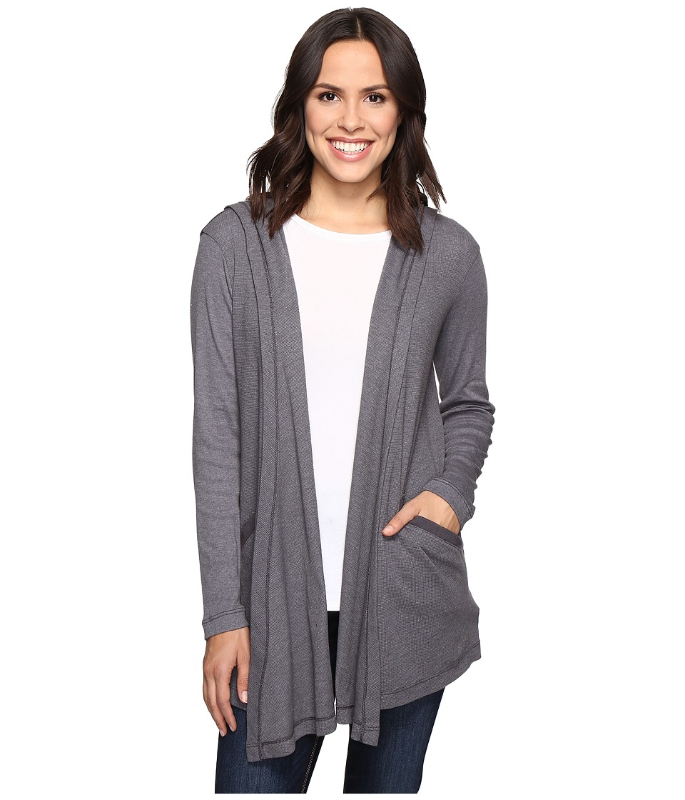 Allen Allen - Long Sleeve Hooded Open Cardigan (Flint) Women's Sweater