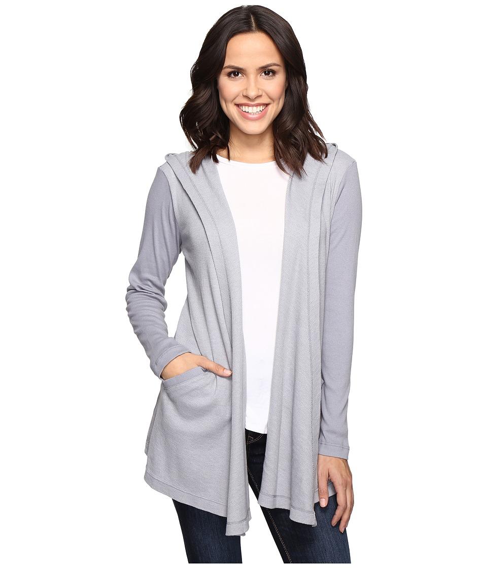 Allen Allen - Long Sleeve Hooded Open Cardigan (Pale Grey) Women's Sweater