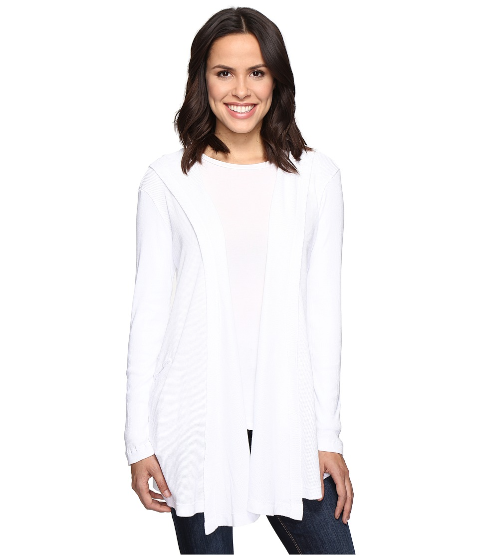 Allen Allen - Long Sleeve Hooded Open Cardigan (White) Women's Sweater