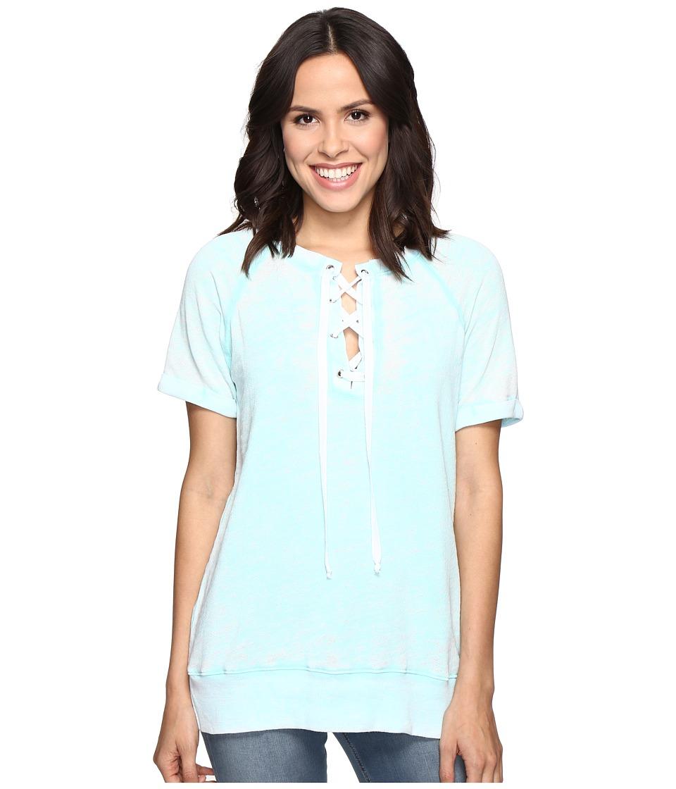 Allen Allen - Lace Front Raglan Crew (Aquamarine) Women's T Shirt