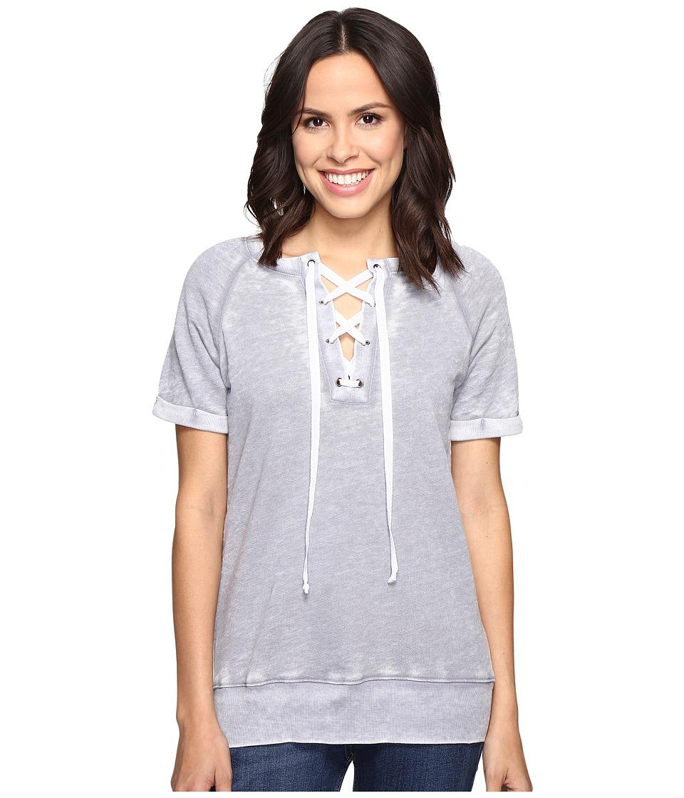 Allen Allen - Lace Front Raglan Crew (Pale Grey) Women's T Shirt