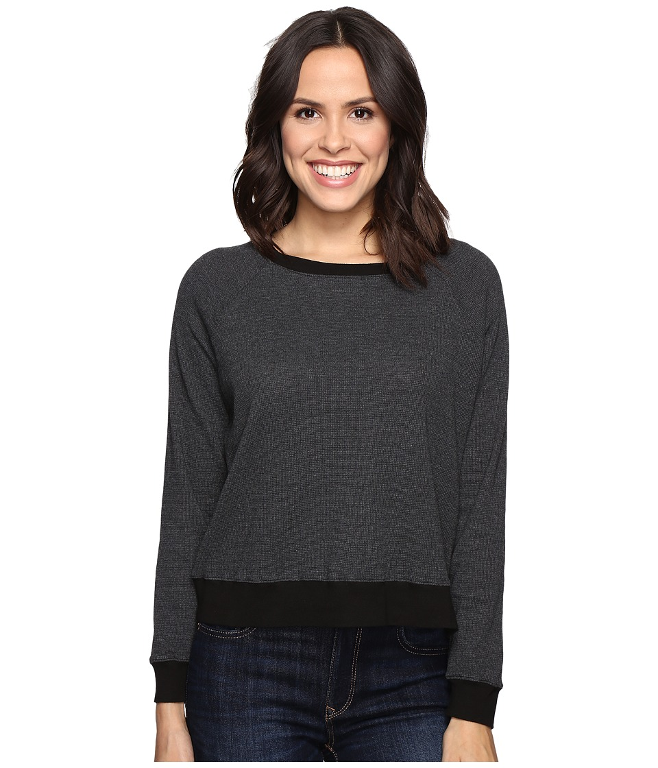 Allen Allen - Long Sleeve Raglan Cropped Crew (Black) Women's Long Sleeve Pullover