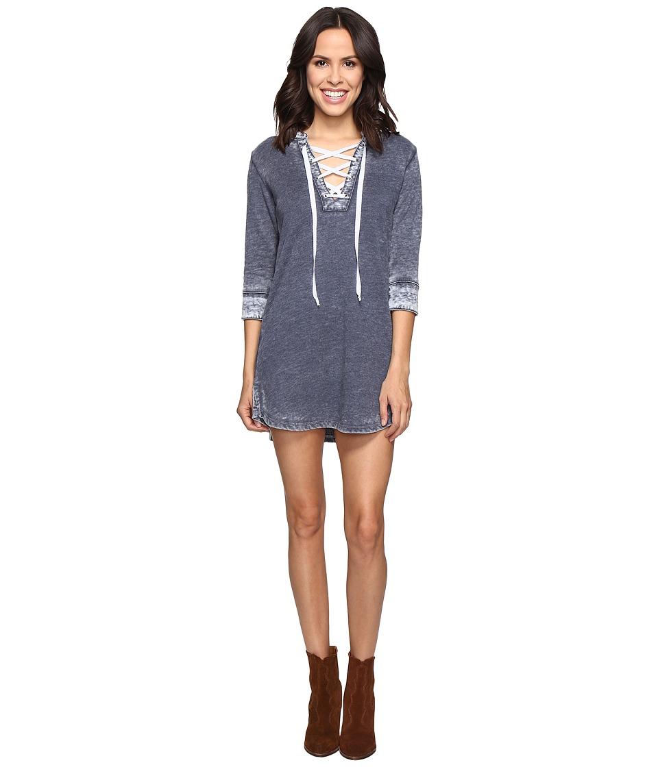 Allen Allen - 3/4 Sleeve Lace Front Short Dress (Navy) Women's Dress