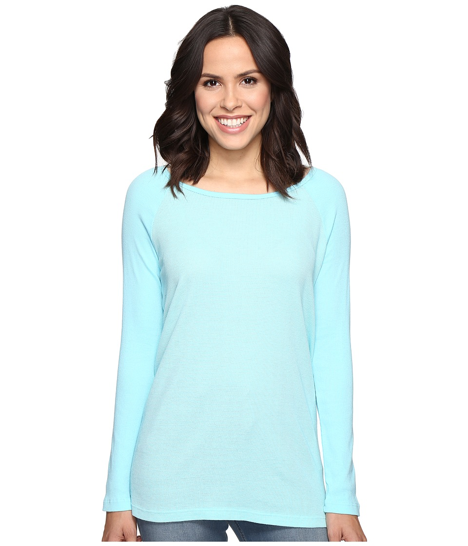 Allen Allen - Long Sleeve Raglan Tunic w/ Contrast Sleeves (Aquamarine) Women's Blouse