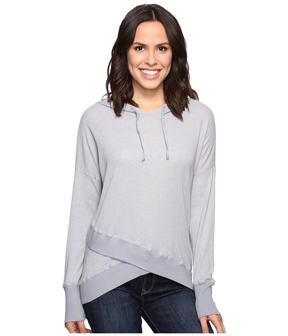 Allen Allen - Long Sleeve Cross-Over Hem Hoodie (Pale Grey) Women's Sweatshirt