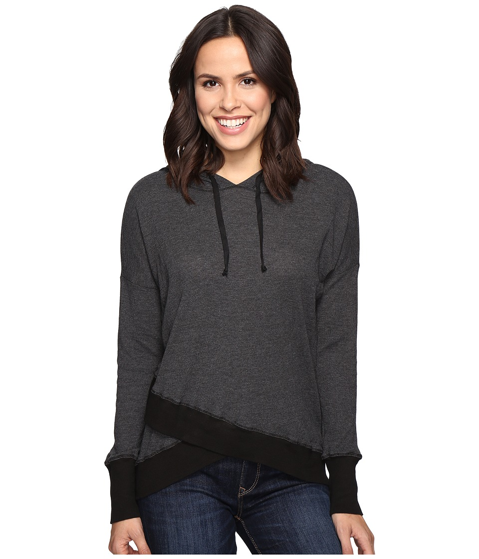 Allen Allen Long Sleeve Cross-Over Hem Hoodie (Black) Women