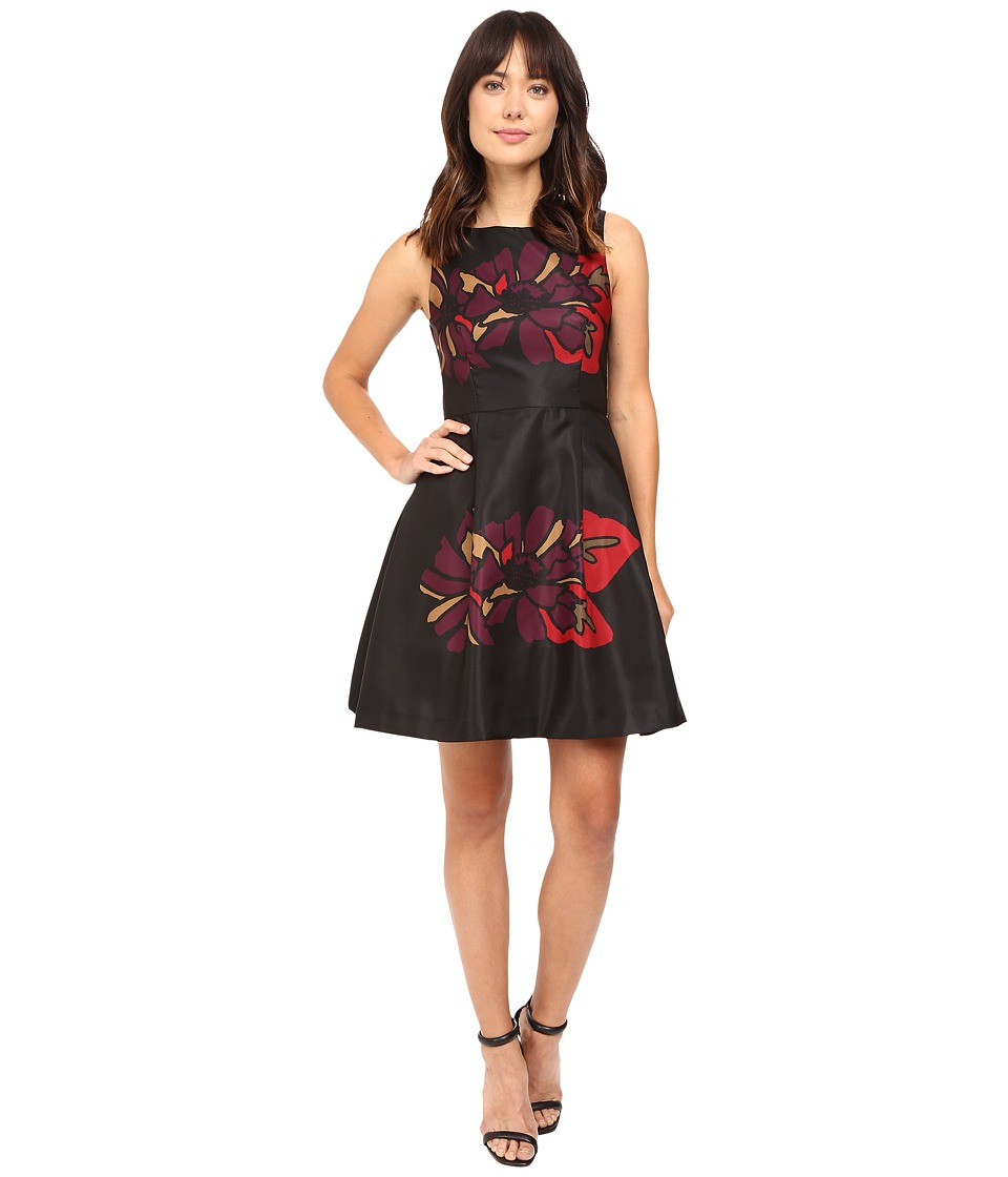 Taylor Mikado Fit Flare Dress (Black Plum) Women