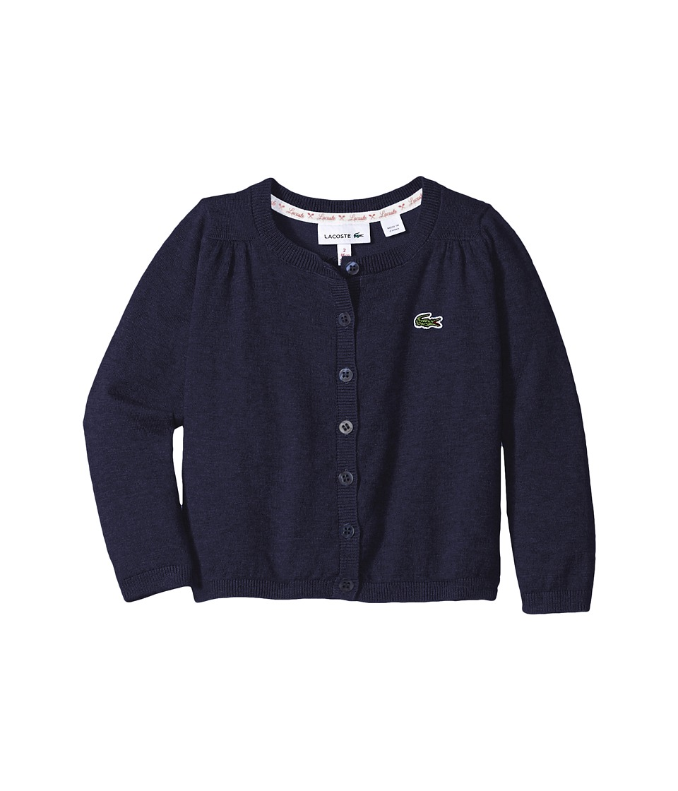 Lacoste Kids - Cotton Wool Cardigan (Infant/Toddler/Little Kids/Big Kids) (Deauville Blue) Girl's Sweater