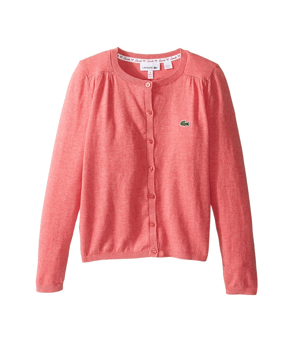 Lacoste Kids - Cotton Wool Cardigan (Infant/Toddler/Little Kids/Big Kids) (Berry Chine) Girl's Sweater