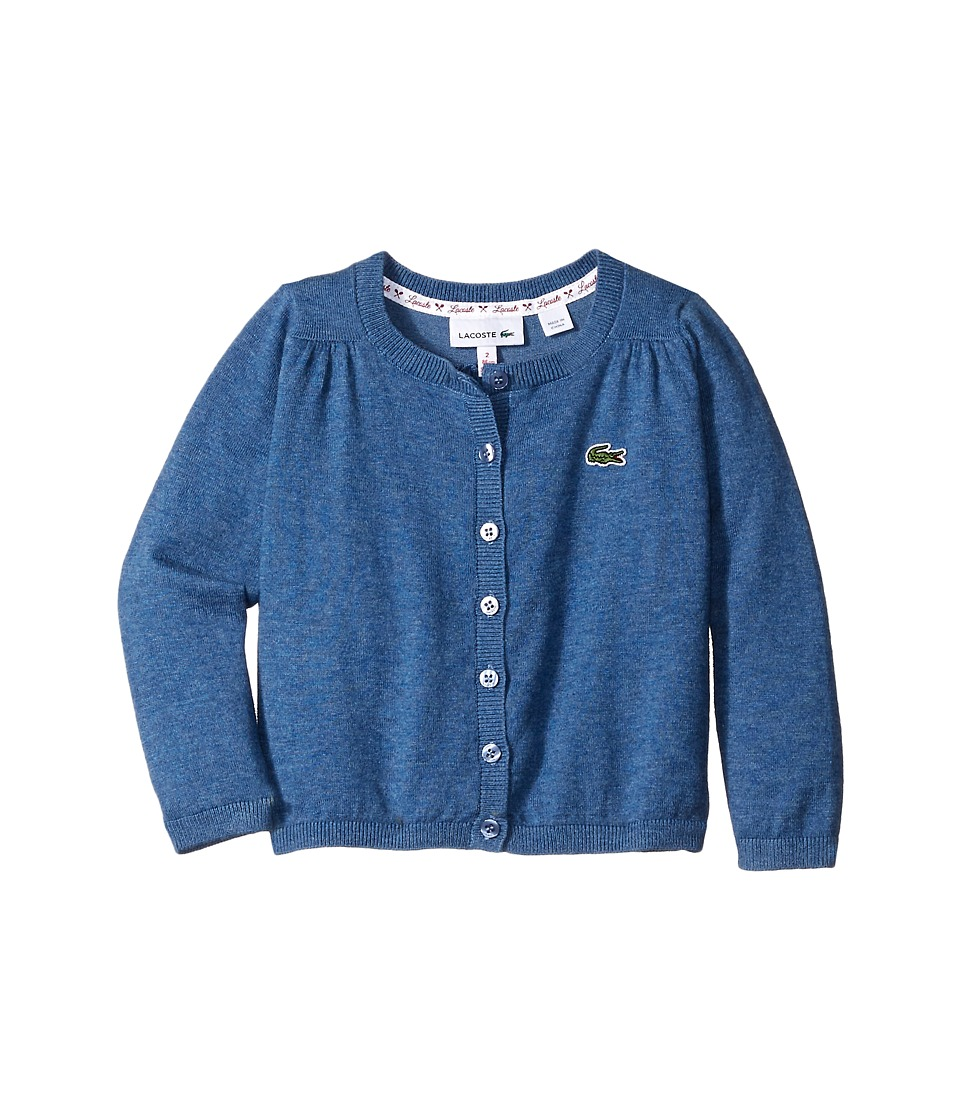 Lacoste Kids - Cotton Wool Cardigan (Infant/Toddler/Little Kids/Big Kids) (Storm Chine) Girl's Sweater