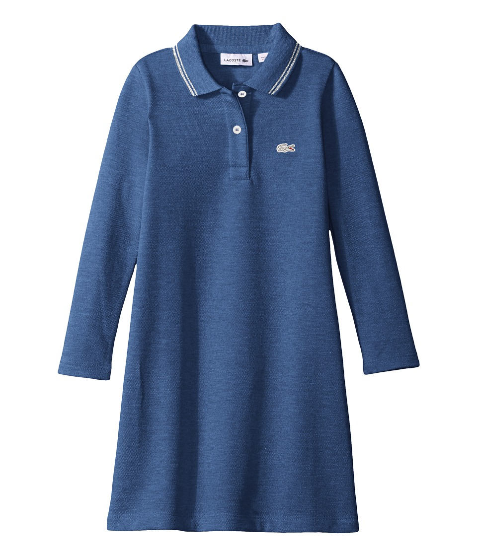 Lacoste Kids - Long Sleeve A-Line Polo Dress with Tipping Detail (Infant/Toddler/Little Kids/Big Kids) (Storm Chine/Silver) Girl's Clothing