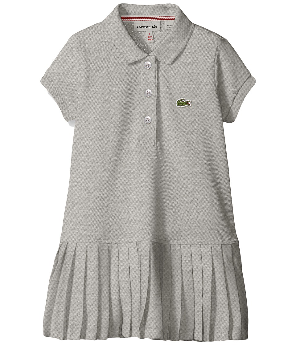 Lacoste Kids - Short Sleeve Pique Polo Dress with Pleated Bottom (Little Kids/Big Kids) (Light Tar Grey Chine) Girl's Clothing
