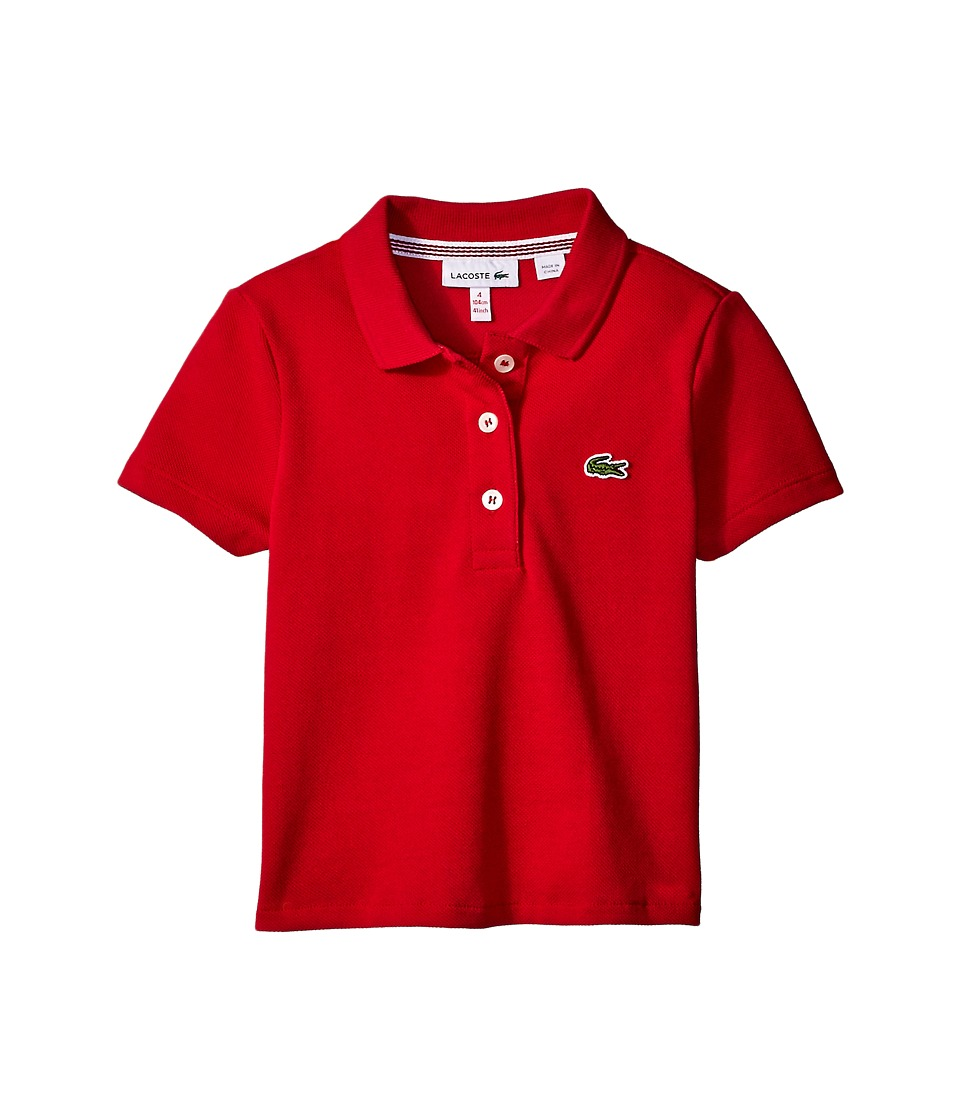 Lacoste Kids - Short Sleeve Pleated Back Polo Shirt (Toddler/Little Kids/Big Kids) (Tokyo Red) Girl's Clothing