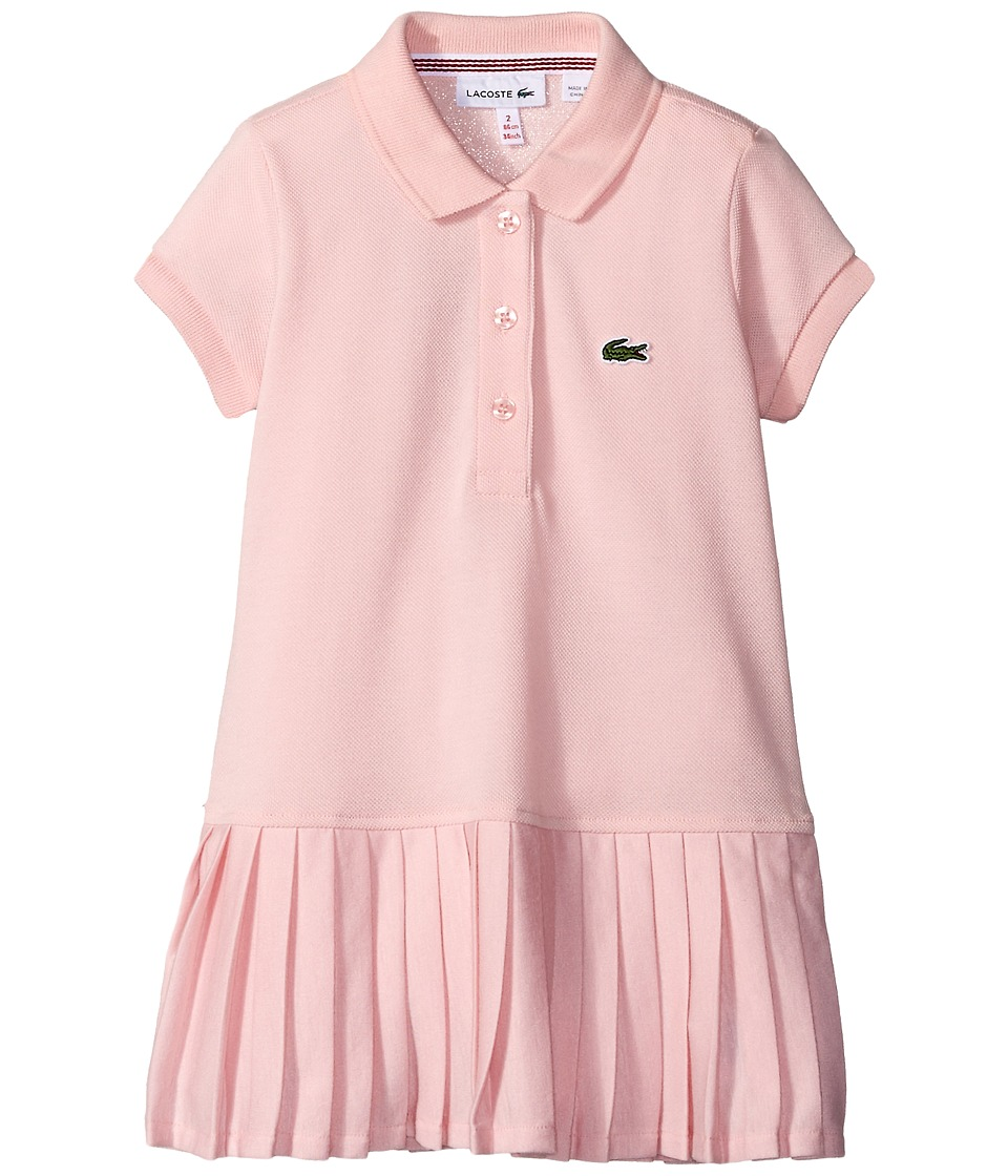 Lacoste Kids - Short Sleeve Pique Polo Dress with Pleated Bottom (Little Kids/Big Kids) (Ispahan Pink) Girl's Clothing