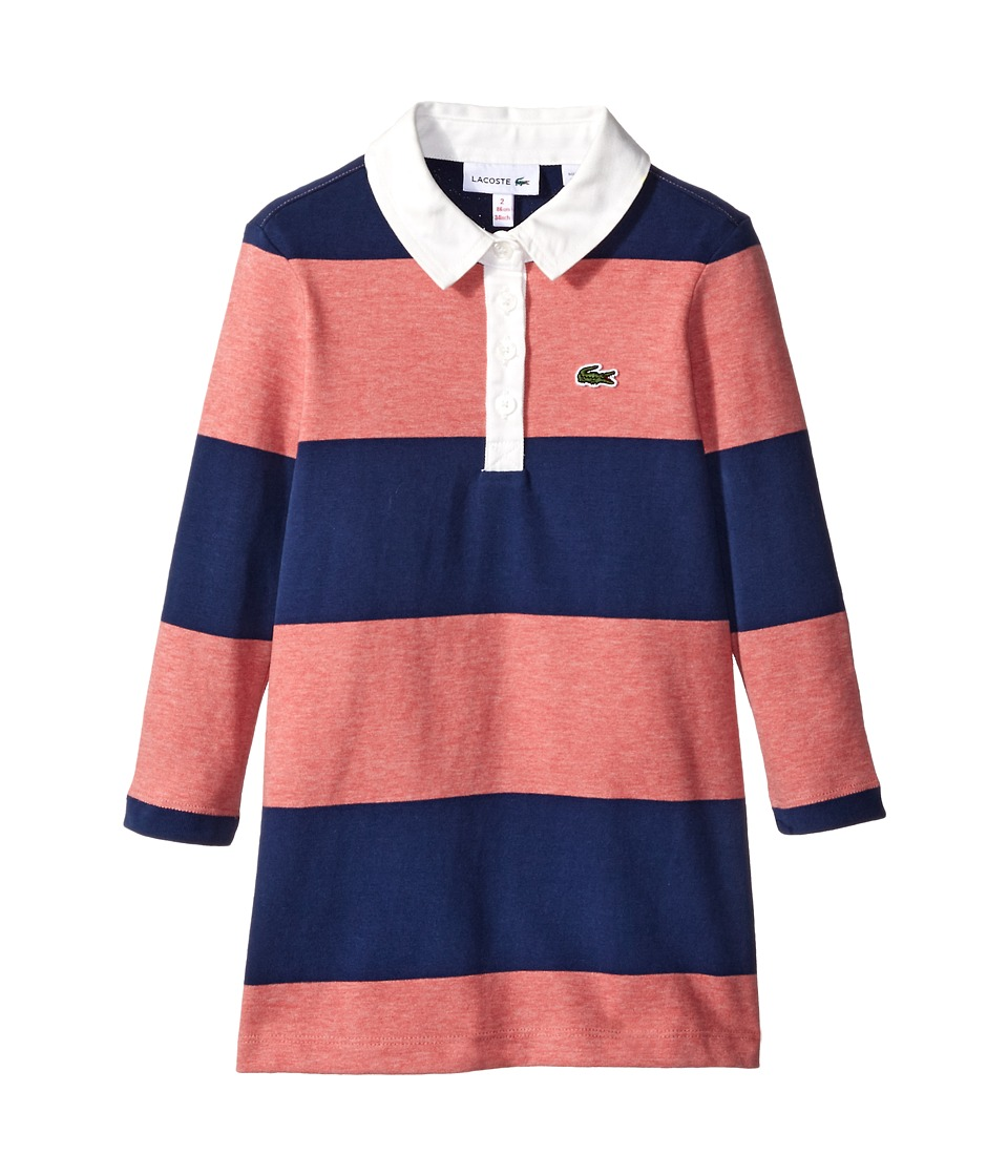 Lacoste Kids - Long Sleeve Striped Rugby Dress (Toddler/Little Kids/Big Kids) (Bay Chine/Deauville Blue/White) Girl's Clothing