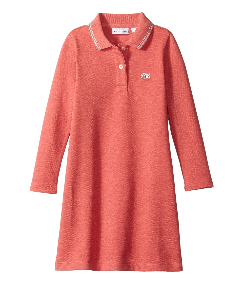 Lacoste Kids - Long Sleeve A-Line Polo Dress with Tipping Detail (Infant/Toddler/Little Kids/Big Kids) (Bay Chine) Girl's Clothing