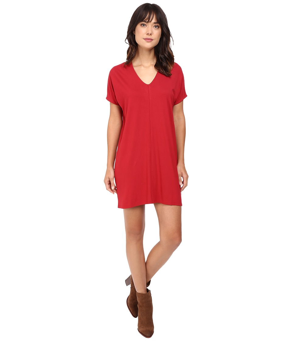 Lilla P - Stretch Jersey Short Sleeve V-Neck Dress (Garnet) Women's Dress